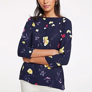 Ann Taylor floral mixed media night sky blouse